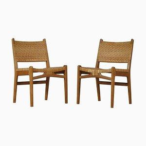 Danish Modern Oak and Rattan CC31 Side Chairs by Hans J. Wegner, 1950s, Set of 2