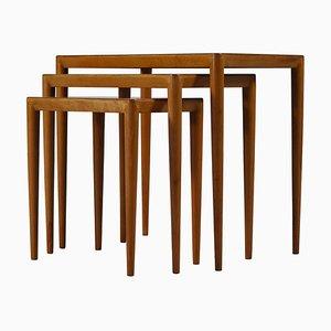 Nesting Tables in Birch von Severin Hansen Jr. für Haslev, Dänemark