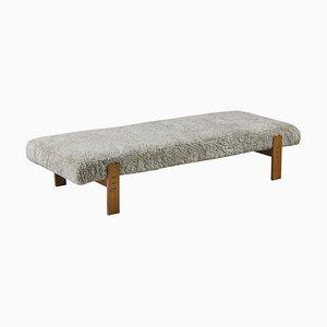 Sofá cama danés moderno de roble y piel de oveja de Eva & Nils Koppel, años 60