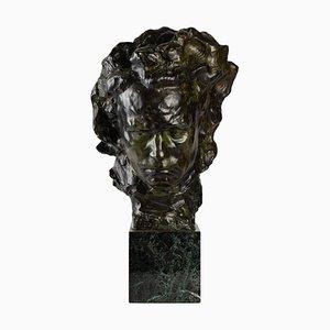 Sculpture de Beethoven en bronze et marbre
