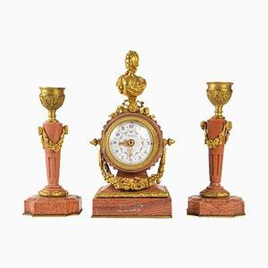 19th Century Miniature Desk Clock Set