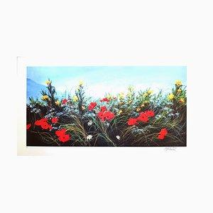 Luigino Rossi Garzione, Wildblumen, Original-Siebdruck, 1980er Jahre