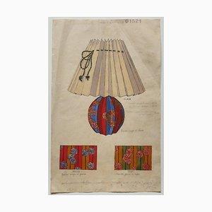 Unbekannt, der Lampenschirm, Original Aquarell, 19. Jahrhundert