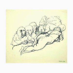 Leo Guida, figura, dibujo original a tinta sobre papel, finales del siglo XX