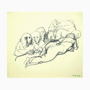 Leo Guida, Figure, Original Ink Drawing on Paper, Late 20th Century