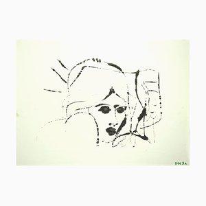Leo Guida, Figur, Original-Tuschezeichnung auf Papier, spätes 20. Jahrhundert