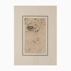 Carlo Coleman, Studie für Pferde, Original-Federzeichnung auf Papier, 1850