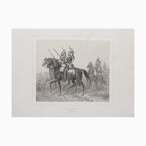 Litografia originale su carta di Denis-Auguste-Marie Raffet, l'assedio di Roma, inizio XIX secolo