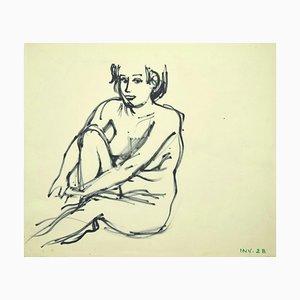 Leo Guida, Akt, Original Marker Zeichnung auf Papier, spätes 20. Jahrhundert
