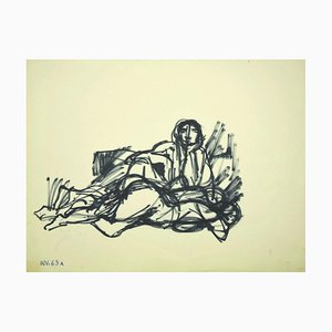 Leo Guida, Figure, Original Permanent Marker Drawing, Mid-20th Century