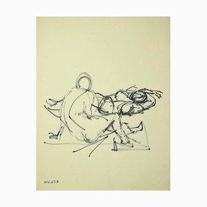 Leo Guida, Figure, Original Marker Drawing on Paper, 1970s