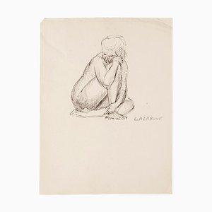 Rayomond Cazanove, Akt, Original Feder auf Papier, Mitte 20. Jahrhundert