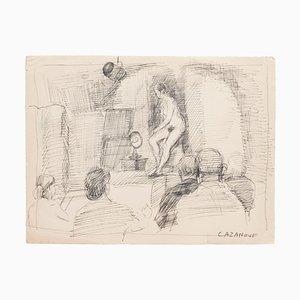 Raymond Cazanove, Akt, Original Stift auf Papier, 20. Jahrhundert