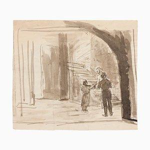 Raymond Cazanove, dans la crypte, encre et aquarelle originales, milieu du XXe siècle