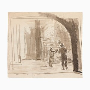 Raymond Cazanove, in the Crypt, Original Ink and Watercolor, Mid-20th Century