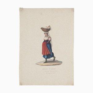 Michela De Vito, Costume of Cajazzo, Original Gouache, 19th Century