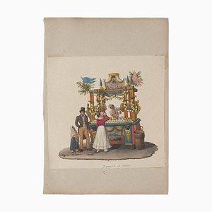 Michela De Vito, Getränke Verkäufer, Original Gouache, 18. Jahrhundert