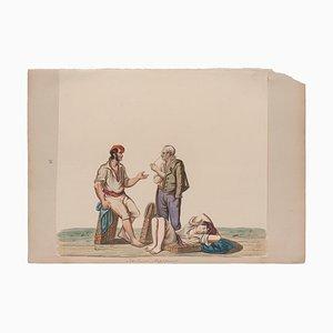 Michela De Vito, Porters, Original Gouache, 19th Century