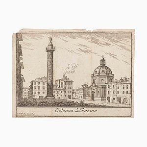 Pierre Duflos, Colonna Traiana, Lithographie originale sur papier, 19e siècle