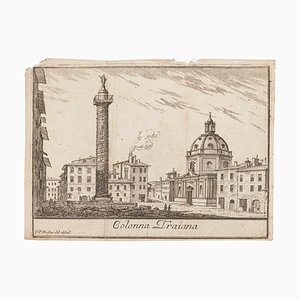 Pierre Duflos, Colonna Traiana, Original Lithograph on Paper, 19th Century