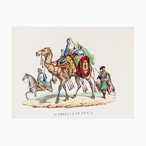 Desconocido, Escape de una familia árabe, Litografía original impresa en papel, 1846