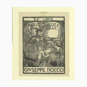 Unknown, Ex Libris, Incisione in legno originale, anni '30