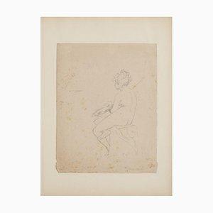 Claudio Francesco Beaumont, Figure, Original Pencil Drawing, 18th Century