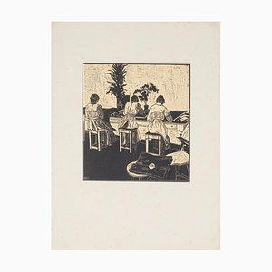 Unknown, Women at Needlework, Original Woodcut, 20th Century
