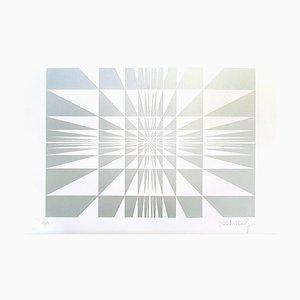 Victor Debach, Silberkomposition, Original-Siebdruck, 1970er Jahre