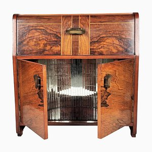 Art Deco Italian Walnut Inlay and Mirror Mosaic Dry Bar Cabinet, 1950s