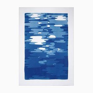 Réflexions d'eau géométriques verticales, monotype de découpe original dans les tons bleus 2019