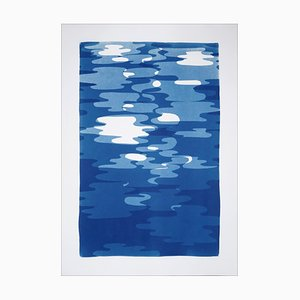 Vertical Geometric Water Reflections, Original Cutout Monotype in Blue Tones 2019