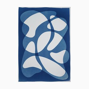 Avant Garde Blue Curves, Blue Tones Abstrakt Formen auf Weiß, Classy Monotype 2019