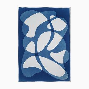 Courbes bleues d'avant-garde, formes abstraites de tons bleus sur blanc, monotype chic 2019