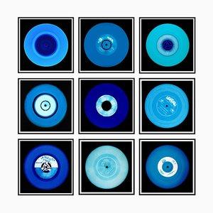 Colección de vinilos, instalación de nueve piezas de blues, fotografía en color de arte pop 2014-2020