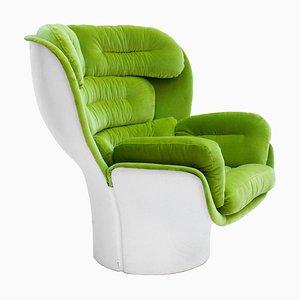 Fauteuil Elda Mid-Century Moderne en Velours Vert par Joe Colombo, Italie