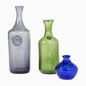 Glass Vases by Erik Höglund, Set of 3