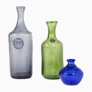 Vases en Verre par Erik Höglund, Set de 3