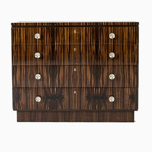 Swedish Functionalist Zebrano Chest of Drawers