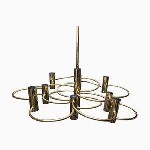 Mid-Century Modern Brass Italian Chandelier by Gaetano Sciolari, 1960s