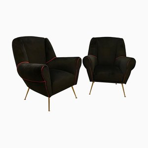 Mid-Century Modern Brass and Black Velvet Italian Armchairs by Gio Ponti, 1950s, Set of 2