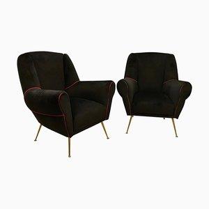 Moderne italienische Mid-Century Sessel aus Messing & schwarzem Samt von Gio Ponti, 1950er, 2er Set