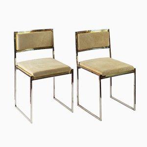 Italienische Esszimmerstühle aus Messing & Wildleder von Willy Rizzo, 1970er, 2er Set
