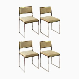 Italian Brass and Suede Dining Chairs by Willy Rizzo, 1970s, Set of 4