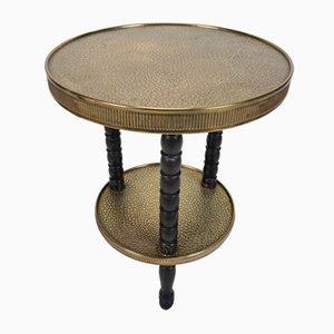 Antique Brass Tripod Two-Tier Side Table with Oak Ebonized Bobbin Turned Legs, 1900s