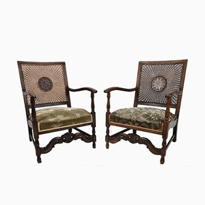 Art Deco Armchairs with Cane Backrests by Salomon Speelman, 1920s, Set of 2