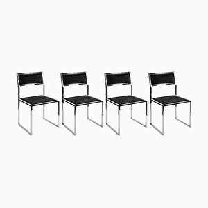 Italian Chrome and Suede Dining Chairs by Romeo Rega, 1960s, Set of 4