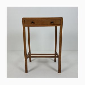 Art Deco Amsterdam School Oak Console Table with Drawer, 1920s