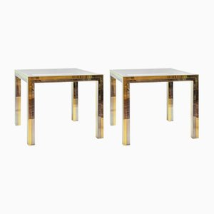 Italian Brass, Chrome and Glass Top Side Tables, 1960s, Set of 2