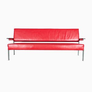 Dutch Rosewood & Red Leather Sofa by Martin Visser for t Spectrum, 1960s